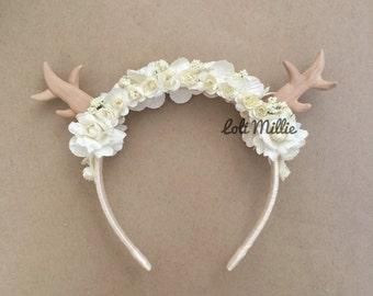 Snow Fawn - Fawn/Deer Antlers Headband