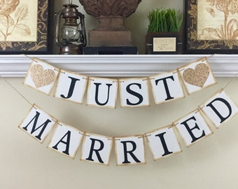 Just Married Banner, Just Married Car Sign, Wedding Banner, Just Married Sign