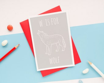 Wolf Card. Animal Alphabet Card. 100% Recycled Card & Envelope