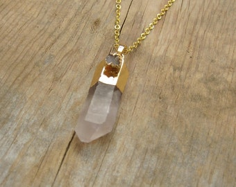 Gold Dipped Raw Crystal Point with Gray Druzy Necklace - Boho Necklace, Bohemian Jewelry, Healing Stone, Spiritual Jewelry
