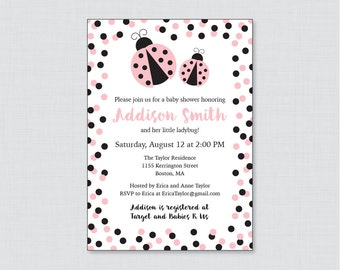Ladybug Baby Shower Invitation Printable or Printed - Pink Ladybug Baby Shower Invites - Pink and Black Polka Dots Ladybug Shower 0050-P