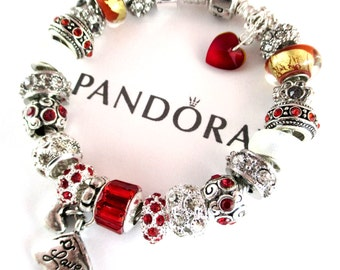 Authentic Pandora Bracelet, Sterling 925 Silver, or CHOOSE, Euro Style Bracelet, Silver Plated, Both with, Non Branded Beads & Charms ,RG500