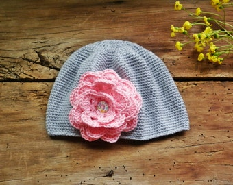 Newborn girl Sun hat, Gray soft hat, Summer hat,  Organic cotton hat, trend 2016, Cute model elegant hat, knitted summer hat, toddler hat