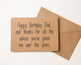 THANKS DAD CARD - Funny Birthday Card for Dad - to dad - Funny Father's Day Card  - Birthday - Father's Day - from son or daughter
