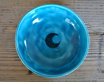 Acqua Blue Ceramic Handmade Bowl, Serving Dish, Decorative Plate, Housewarming, Gift