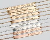 Gold Bar Necklace, Name Bar Necklace, Engraved Bar Necklace, in Silver, Gold Filled, Rose, Gold Name Plate Necklace H440
