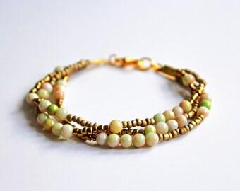 Gold cream bracelet, seed bead bracelet, multistrand bracelet, boho bracelet, beaded bracelet
