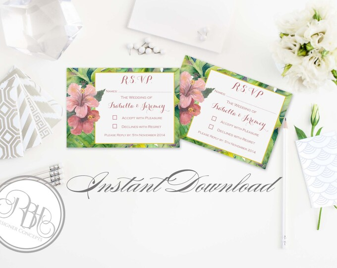 Wedding RSVP Reply Card Template INSTANT DOWNLOAD-Diy Editable Text- Tropical Island Wedding Hibiscus-Lucinda