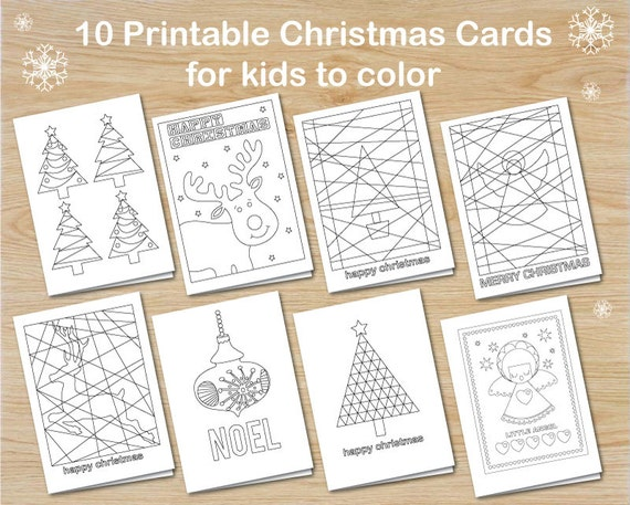 10 christmas cards for kids to colour instant download christmas cards to colour make your own cards kids printable christmas card pack - Cards For Kids To Color
