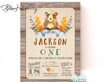 Bear Birthday Invitation Rustic Woods Country Boy Birthday Party Invitation Fall Birthday Invitation // Printable No.1262KIDS