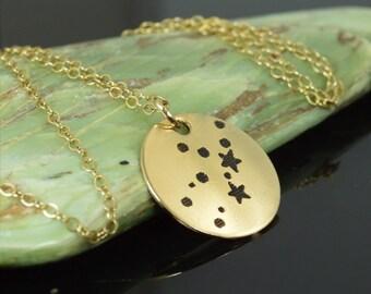 14k Gold Filled Virgo Necklace, Gold Virgo Necklace, Gold filled, Virgo Constellation, Virgo Jewelry, Zodiac Necklace, Zodiac, Virgo Pendant
