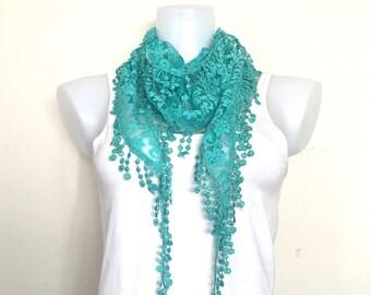 Aqua Green Lace Scarf, Women Boho Style,Necklace,Neck Wrap,Triangular Headband,Blue Green Bandeau, Fringed Shawl, Green Bandana