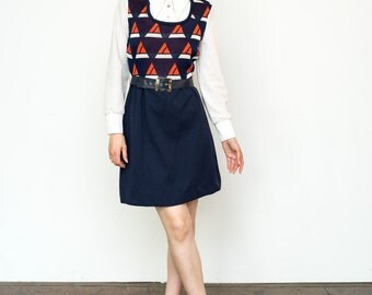 Vintage 1970's Dress Novelty Sailboat Nautical Prep Navy Blue Knit