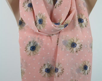 Floral Scarf Spring Summer Scarf Polka Dots Scarf Pink Scarf Shawl Women Fashion Accessories Infinity Scarf Circle Scarf Gift For Her DERINS