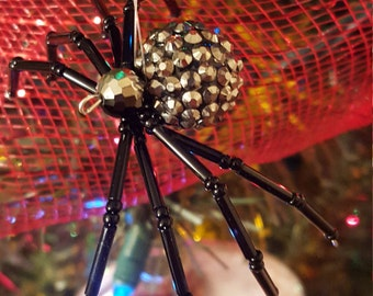 Black and Silver Legend Of The Christmas Spider Ornament - Handmade - # 1710-12