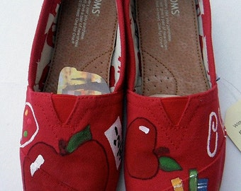 Teacher Shoes Painted TOMS Gift for Teacher Teacher Personalized Gift New Teacher Gift Christmas Gift Teaching Gifts