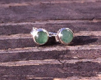 Aventurine 4mm Sterling Silver Stud Earrings