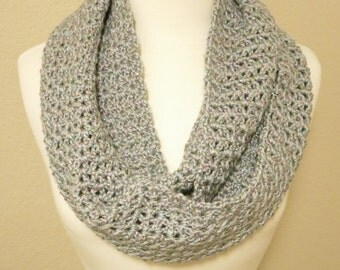 Crochet Infinity Scarf in Sparkly Light Gray