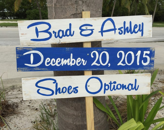 Navy blue Beach Wedding Sign, Rustic Wedding Decor Wood, Shoes Optional Directional Sign