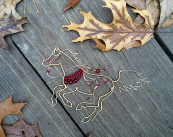 Beaded Wire Horse Ornament, Galloping Arabian Horse