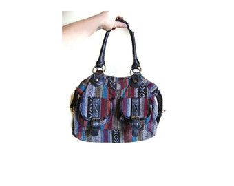 Vintage IKAT purse Ethnic purse woven bag 1980s Aztec Tribal Purse hippie handbag hipster bag