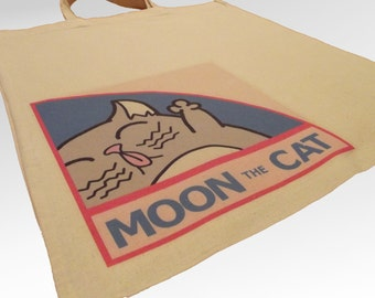 Moon the Magical Cat Custom Design Tote Bag. Double Sided Print.