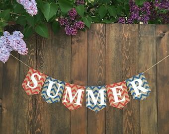 SUMMER BANNER Summer Bunting Summer Garland Home Decor Summer Decor Rustic Summer Photo Prop Summer Sign Pool Party Summer Burlap Banner