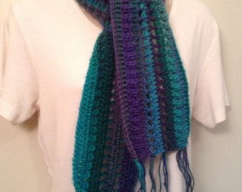 Green and Blue Crocheted Skinny Scarf