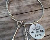 Wild and Free bracelet, Feather Bracelet, Arrow Bracelet, Charm Bangle, Charm bracelet