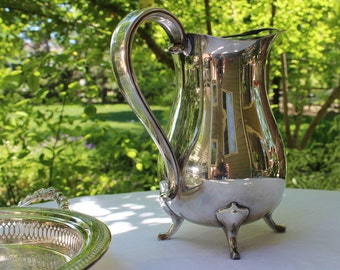 Gorham Newport Silver Water Pitcher, Silver Water Pitcher with Ice Lip,  Vintage Silver Water Pitcher