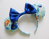 Finding Dory Characters Print Light Blue Mouse Ears Headband