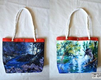 Custom Square Tote: One-of-a-kind hand painted tote made to order