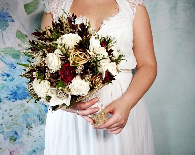 LARGE ivory burgundy wine green gold brown rustic wedding BOUQUET, Sola Flowers, preserved cypress, cones, cedar rose, Burlap, Lace, Bride,