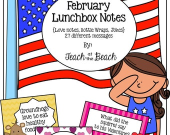 February Lunchbox Notes, Jokes, and Bottle Wraps