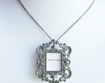 Antiqued Intricate Photo Frame Necklace (or brooch)