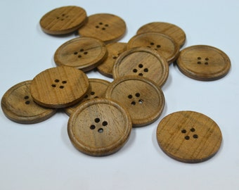 """6 Pieces Natural Wood Button- Very Big Buttons- Extra Large Buttons-  1.5 inch Rose Wood Look Button- 1.5"""" Buttons - Brown Buttons"""