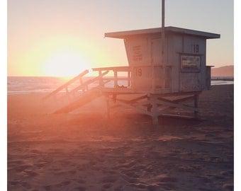Santa Monica Print, Los Angeles Art, Lifeguard Chair, Sunset Photography, Beach Photography, Los Angeles Print, California Beach, Surf Decor