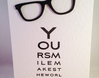 Opticians Eye Chart Spectacles/Reading Glasses Blank Card