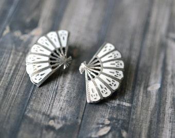 Sterling Silver and White Enamel Signed SIAM Fan Clip On Earrings