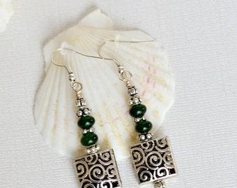 Green Jade earrings - Boho earrings - Gemstone earrings - Jade jewelry - Boho jewelry - Square earrings - Long Dangle Earrings - Womens gift