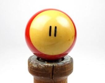 "11 Old Phenolic Resin Billiard Ball Size 2.25"" Pocket Balls Eleven XI Red Pool Stripes Striped Stripe"