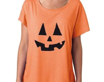 Pumpkin Shirt. Halloween T-Shirt. Jack-O-Lantern Shirt. Super Soft & Flowy, Off The Shoulder Women's Tee. Pumpkin Tee.
