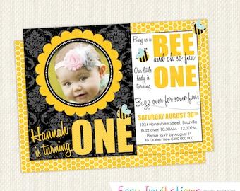 Bumble Bee Birthday Invitation Chevron One First Printable Digital