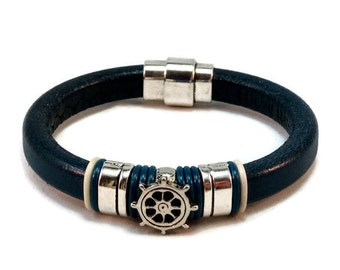 Nautical bracelet leather bracelet womens bracelet bangle bracelet licorice leather bracelet blue bracelet magnetic clasp LLB-21-03
