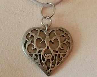 Pewter Heart Charm Nylon Cord Necklace