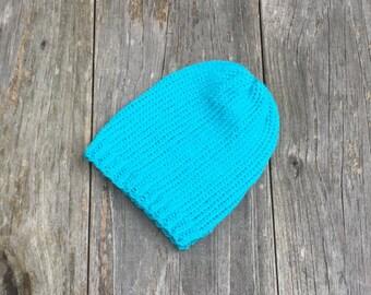 Newborn Baby Beanie - Turquoise - Infant Knit Hat - Baby Boy