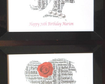 """New Personalised Birthday Girl With Flower And Pearls Word Art PRINT ONLY, Will Fit Any 8""""x10"""" Frame. Choose From 7 ColoursReduced Postage"""