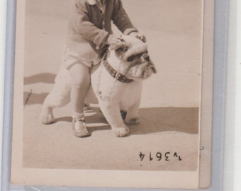 RPPC Little Boy Sits On Bulldog Happy As Can Be Fine Old Postcard, Unused
