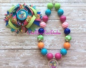 Shopkins inspired chunky necklace stacked hair bow