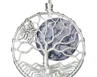 Butterfly Tree of Life Pendant Wire Wrapped Jewelry